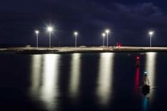 Palmeras de luz en el puerto